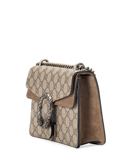 Mini Dionysus GG Supreme Shoulder Bag, Ebony/Taupe