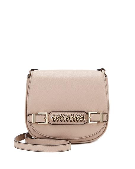 Stevie Leather Saddle Bag, Latte