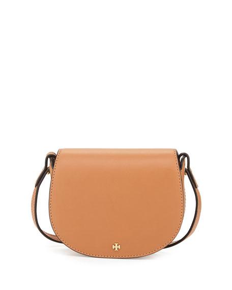 Tory Burch Mini Leather Saddle Bag, Camello