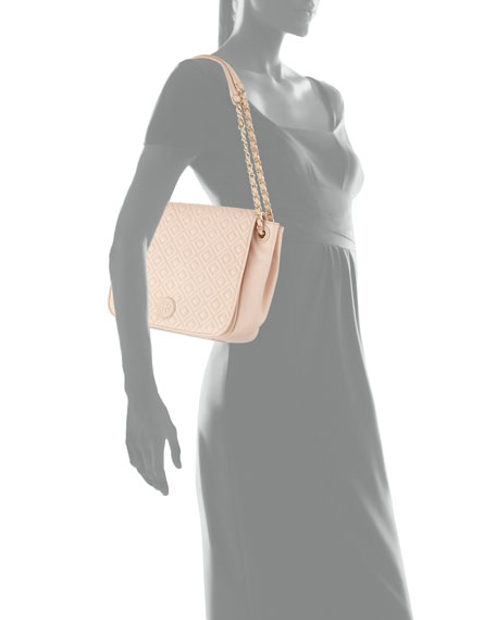 Marion Quilted Small Flap Shoulder Bag, Pale Apricot