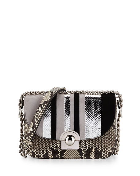 Python/Suede Striped Shoulder Bag, Natural/White/Black (Roccia+Nube+Nero)