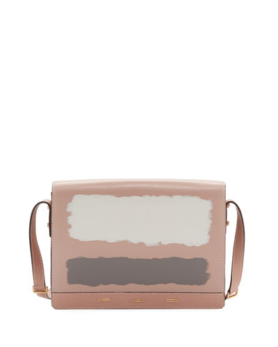 Pulce XL Leather Crossbody Bag, Light Pink