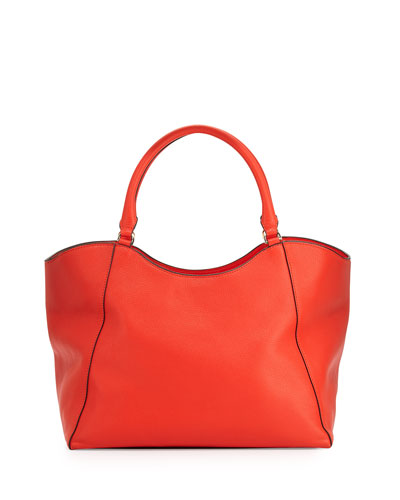 Bombé-T Leather Tote Bag, Poppy Red