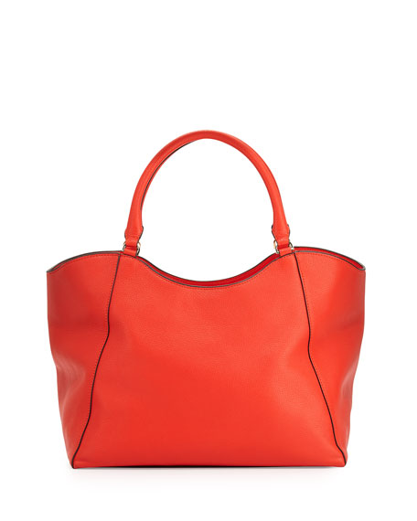 Tory Burch Bombé-T Leather Tote Bag, Poppy Red
