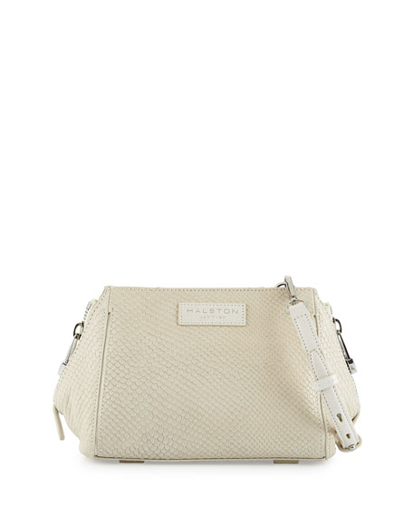 Halston Heritage Lizard-Embossed Leather Crossbody Bag, Dark Bone
