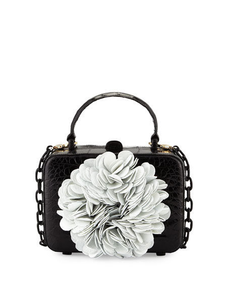 Nancy Gonzalez Floral Top-Handle Structured Box Bag, Black/White