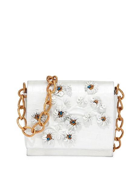 Nancy Gonzalez Crocodile Floral Crossbody Bag, White/Gold