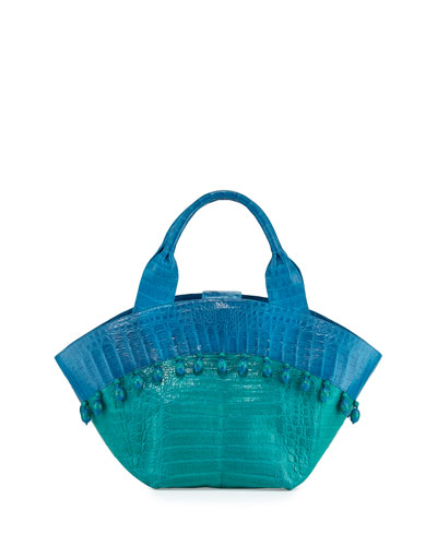 Beaded Crocodile Tote Bag, Green/Ocean Blue