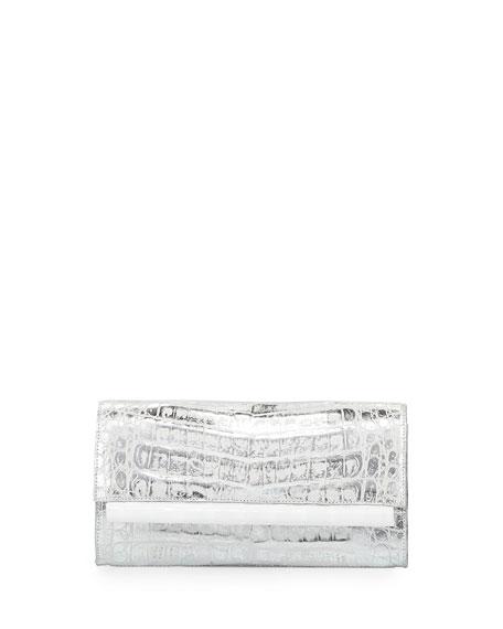 Nancy Gonzalez Crocodile Front-Flap Bar Clutch Bag, Silver