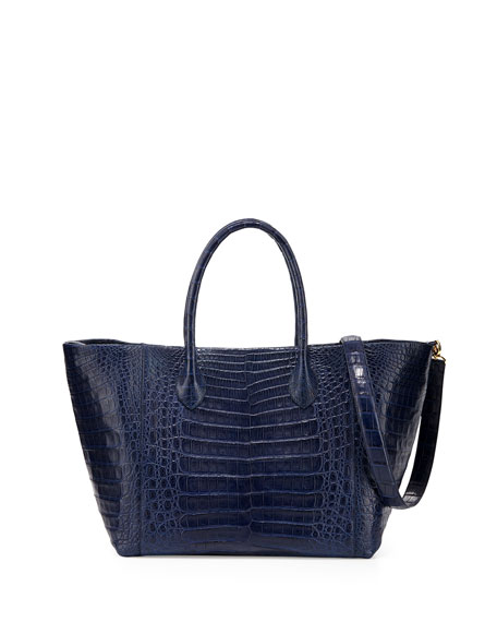 Crocodile Medium Convertible Tote Bag, Navy