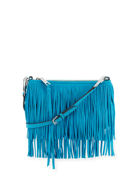 Rebecca Minkoff Finn Fringe Suede Crossbody Bag, Deep