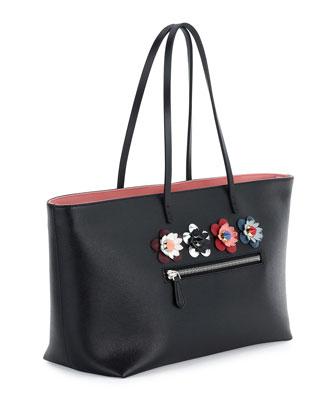 780aba7595a Fendi Roll Medium Flower-Embellished Leather Tote Bag, Black   Neiman Marcus