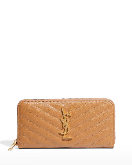 Saint Laurent Monogram Matelassé Zip-Around Wallet