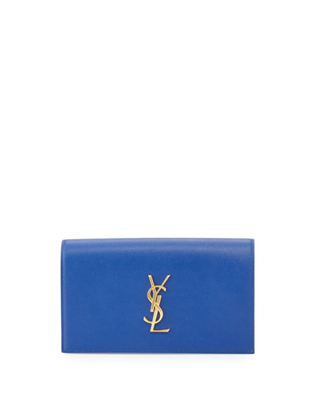 Monogram Leather Small Clutch Bag, Royal Blue