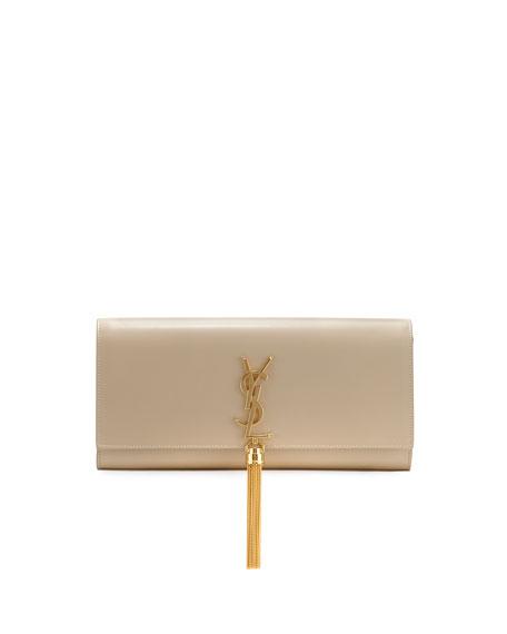 Saint Laurent Monogram Full-Flap Clutch Bag, Beige