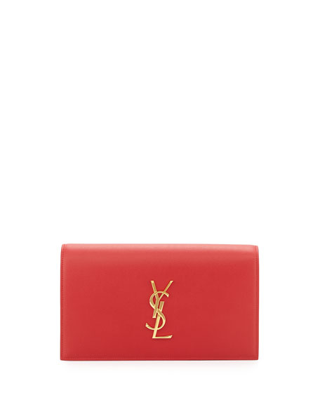 Saint LaurentMonogram Leather Small Clutch Bag, Red
