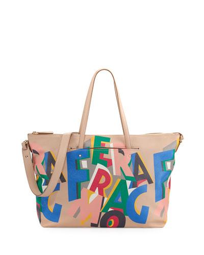 Mika Large Origami-Print Tote Bag, Multicolor