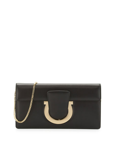 Salvatore Ferragamo Thalia Cocktail Leather Clutch Bag, Nero