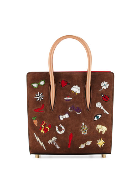 Christian Louboutin Paloma Small Patch Tote Bag, Brown Multi