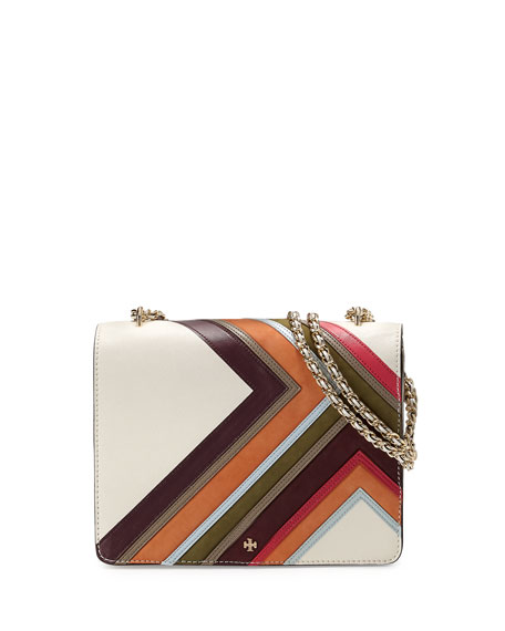 Tory Burch Robinson Multi-Stripe Convertible Shoulder Bag, New