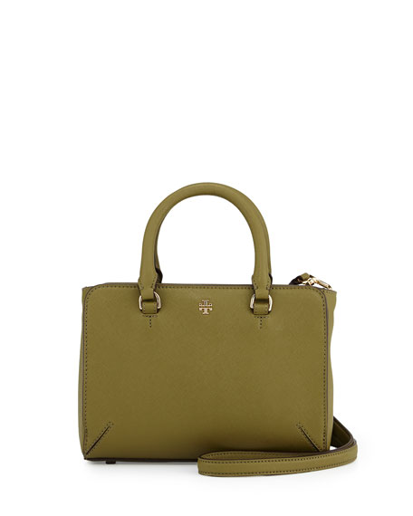 Tory Burch Robinson Micro Zip-Top Tote Bag, Olive