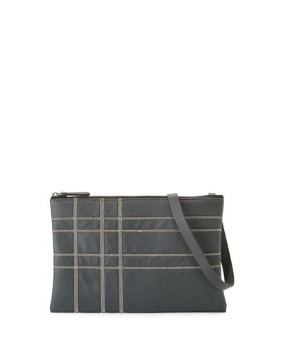Monili-Plaid-Detail Crossbody Bag, Graphite