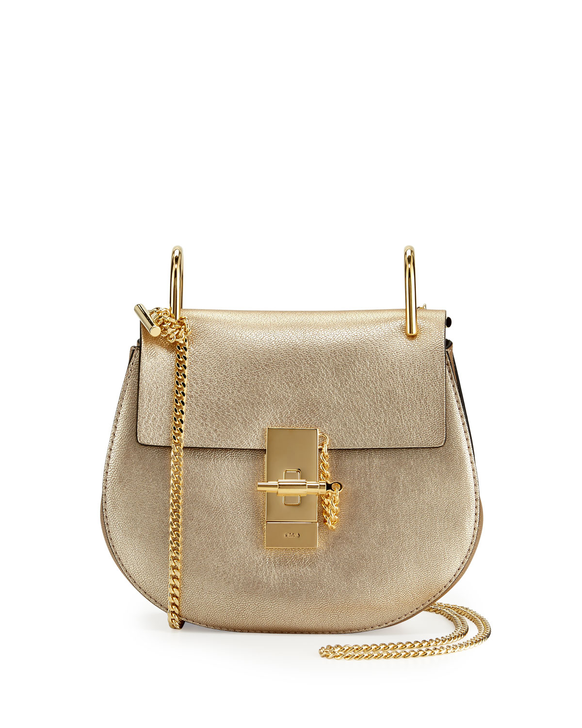 d1bbe2bd6c Drew Mini Metallic Leather Crossbody Bag, Gold
