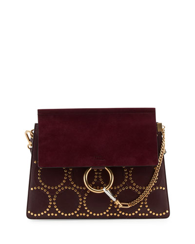 Faye Medium Studded Circle Shoulder Bag, Dark Purple