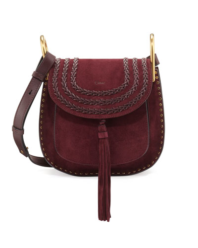 Hudson Small Suede Shoulder Bag, Dark Purple