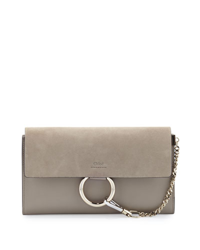 Faye Leather & Suede Clutch Bag, Light Gray