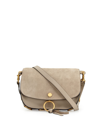 Kurtis Medium Suede/Leather Studded Shoulder Bag, Light Gray