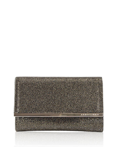 Guilia Fully Beaded Clutch Bag, Silver/Anthracite