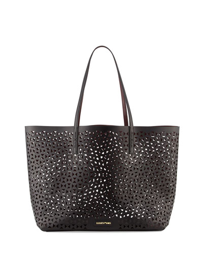 Daily Perforated Leather Tote Bag, Black/Wine
