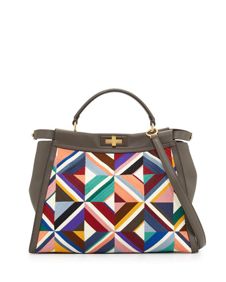 Large Quilted Geometric Peekaboo Satchel Bag, Gray