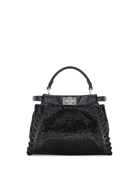 Peekaboo Mini Beaded Satchel Bag w/Whipstitch Trim, Black