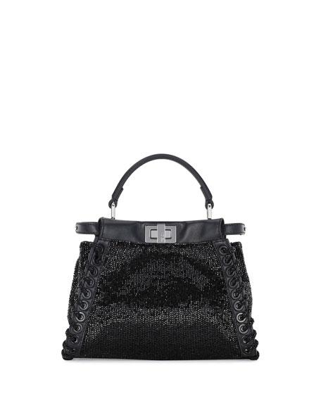 Peekaboo Mini Beaded Satchel Bag w/Whipstitch Trim, Black