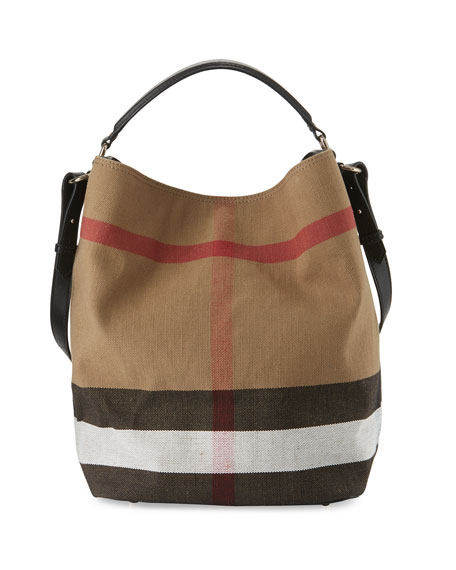 Burberry Ashby Medium Canvas Check Hobo Bag Black