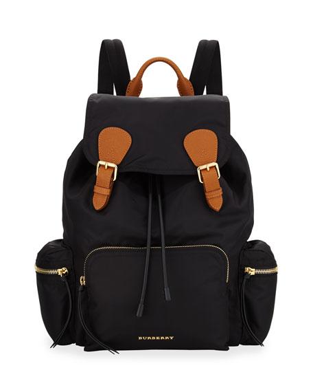 Burberry Medium Rucksack Runway Nylon Backpack, Black