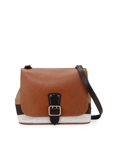 burberryshellwood small check crossbody bag tan check small