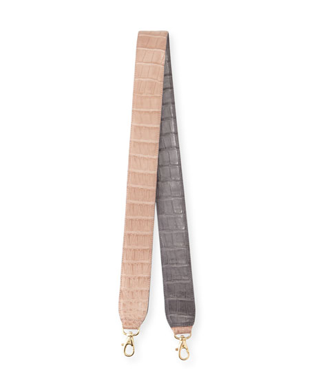Two-Tone Crocodile Guitar Strap for Handbag, Nude/Gray