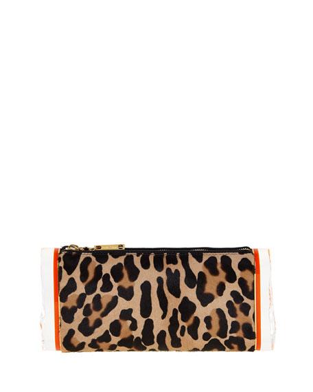 Edie Parker Soft Lara Leopard-Print Calf Hair Clutch