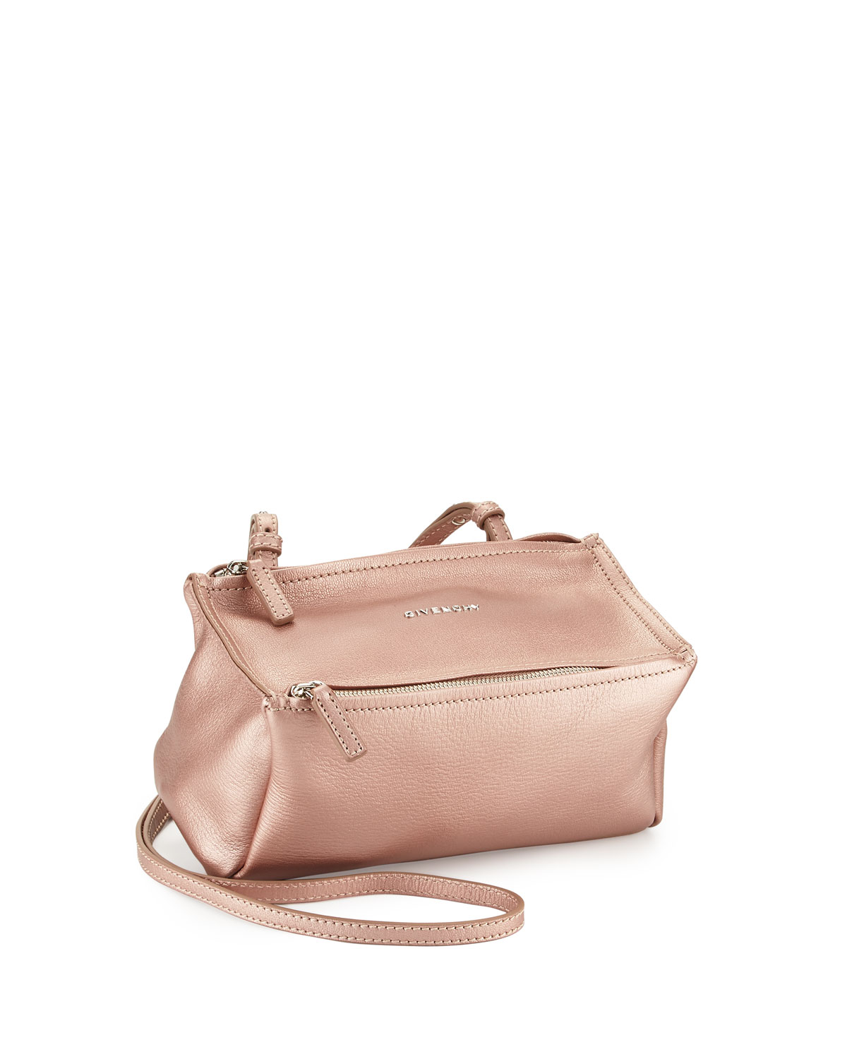 7f2f035b32 Givenchy Pandora Mini Metallic Crossbody Bag, Champagne | Neiman Marcus