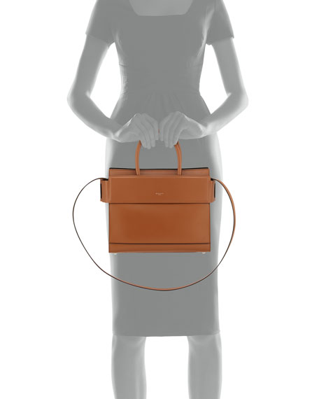 Horizon Small Leather Satchel Bag, Caramel
