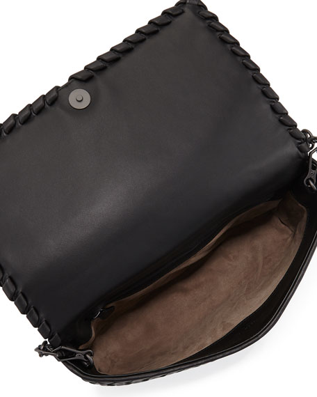 Small Intrecciato Flap Clutch Bag w/Strap, Black