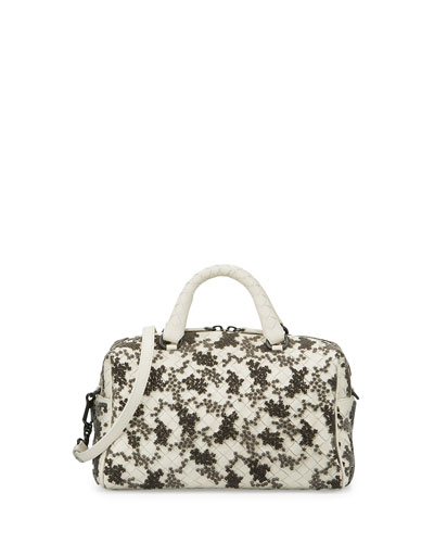 Velvet Bouquet Small Intrecciato Duffel Bag, White