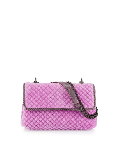 Olimpia Medium Intrecciato Quilted Velvet Shoulder Bag, Pink