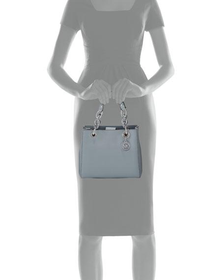 Cynthia Small Saffiano Satchel Bag, Dusty Blue
