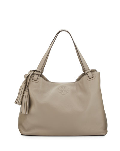 Thea Center-Zip Tote Bag, French Gray