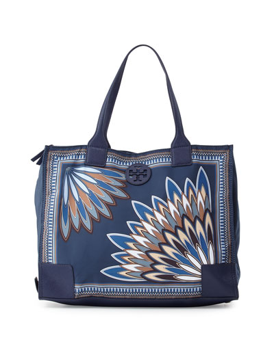 Ella Printed Packable Tote Bag, Navy Eden