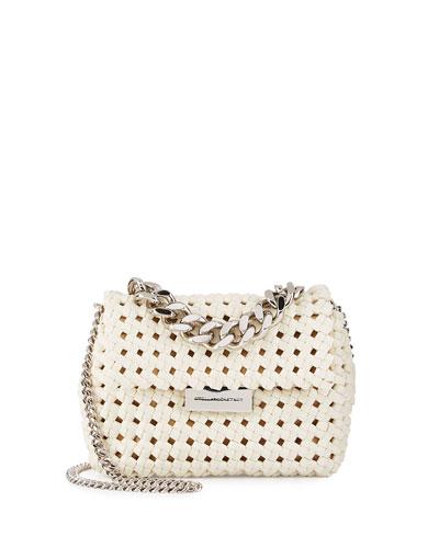 Bex Small Woven Crossbody Bag, Ivory